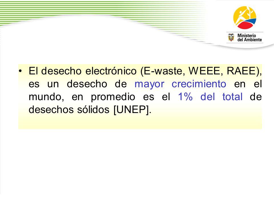 El desecho electrónico (E-waste, WEEE, RAEE), es un desecho de mayor crecimiento en el mundo, en promedio es el 1% del total de desechos sólidos [UNEP].